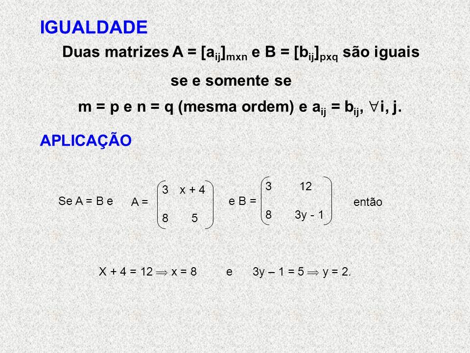 IGUALDADE Duas matrizes A = [aij]mxn e B = [bij]pxq são iguais